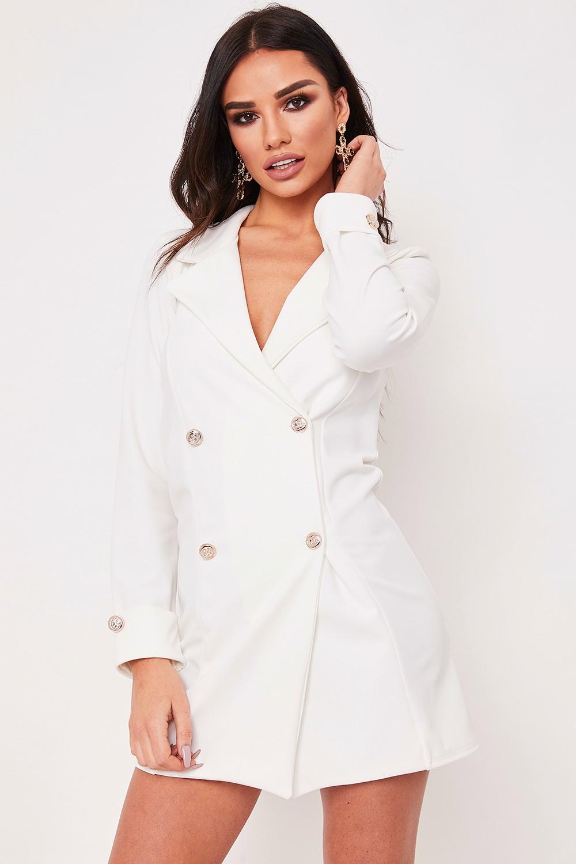 Dominique White Longline Blazer Dress