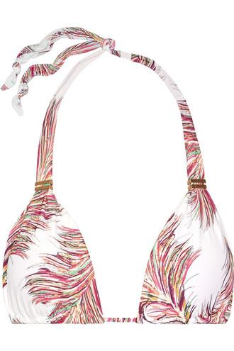 bikini bikini top triangle bikini triangle white pink swimwear