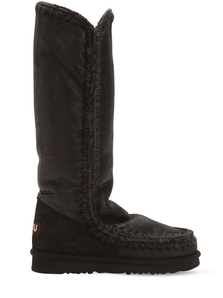 MOU 20mm Eskimo 40 Metallic Wedge Boots in black