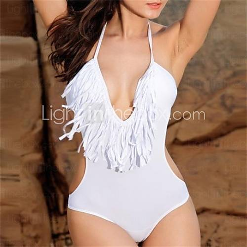 [USD $ 11.69] Pink Queen White Ultra-sexy V-neck Fringe Monokini