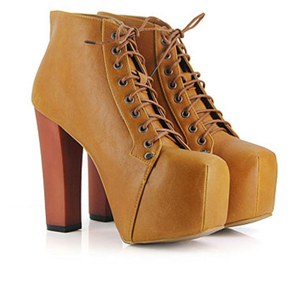 New Ladies Brown Lita platforms high heels Lace Up Ankle shoes boots US 5-9 LX
