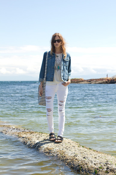 styling my life jacket t-shirt jeans shoes bag jewels sunglasses