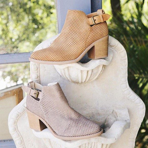 shoes booties cutout booties pointed toe boots short boots buckled booties fashion style trendy qupid