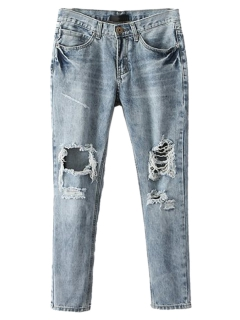 Light blue ripped bleached skinny jeans