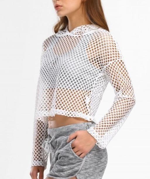 sweater girly white mesh hoodie see through