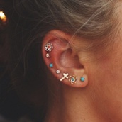 jewels,earrings,color/pattern,flower earings,gold,blue,studs,stud earrings,turquoise,turquoise jewelry,flowers,gold flowers,supercalafragalisticdopeshit,stud,colorful,ear piercings,tumblr,jewelry,hair,cartilage piercing,cartilage earring,cute earrings,cross,cross earring,ear,coral
