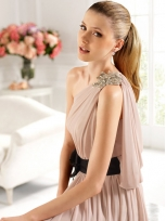 Buy Tempting A-line One-shoulder Floor Length Chiffon Prom Dress under 200-SinoAnt.com