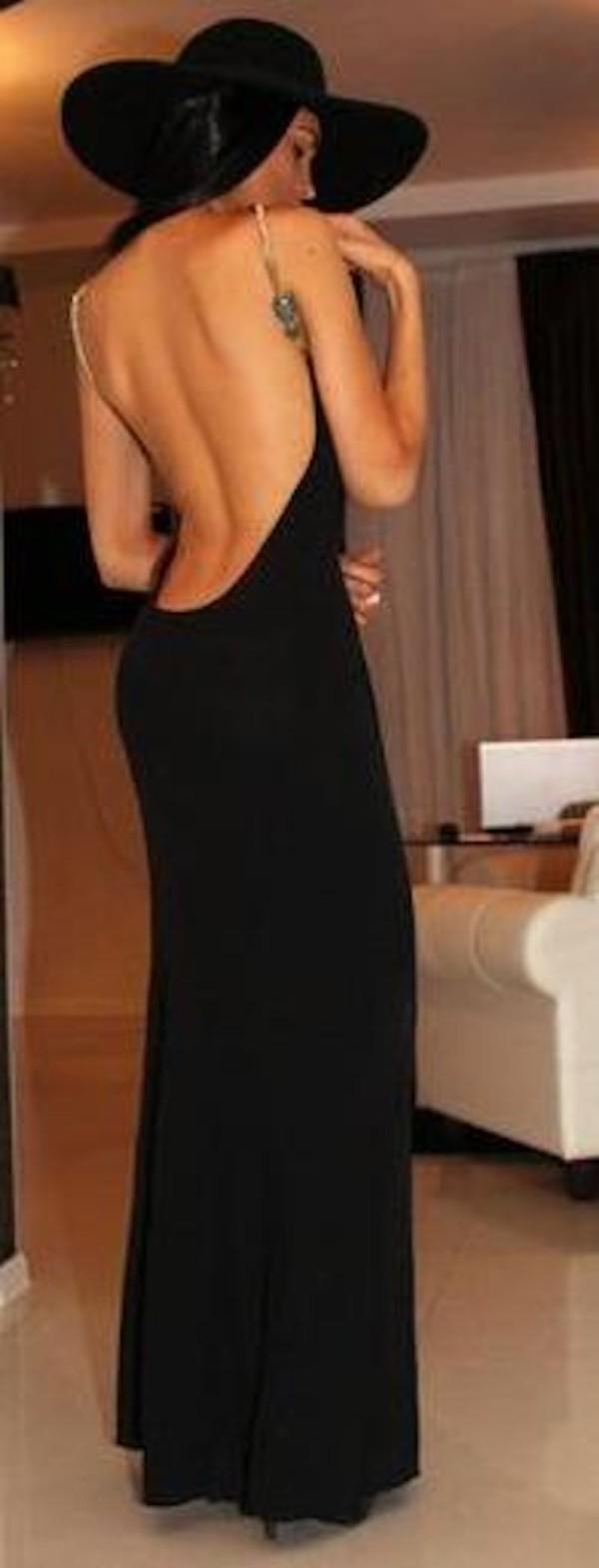 A.B.S. by Allen Schwartz black jersey long sleeve cutout back gown ...