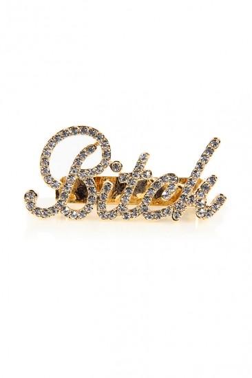 LoveMelrose.com From Harry & Molly   Bitch Rhinestone 3 Finger Ring - Gold
