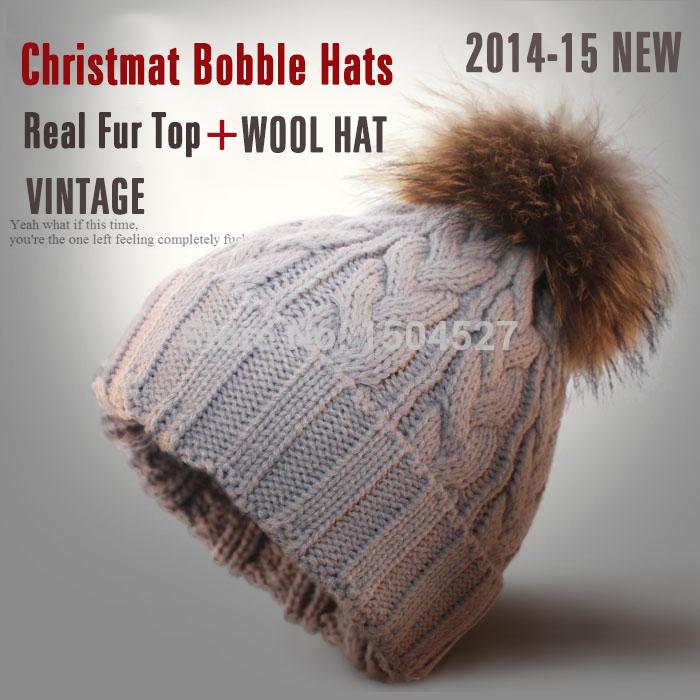 Latest real 15cm raccoon fur pom beanie knitted winter hats for women hat woman headwear skullies beanies baby boy beanie hats
