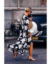 dress,maxi dress,mules,floral dress,woven bag,sunglasses,long sleeve dress