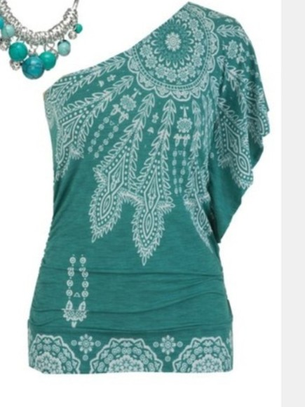 aqua feathers blouse off the shoulder
