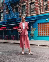 jacket,blazer,pink blazer,pants,shoes,white shoes,sunglasses