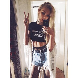 top nyct clothing crop tops graphic tee graphic crop tops sorry i'm not listening