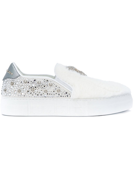PHILIPP PLEIN fur faux fur women embellished sneakers leather white shoes