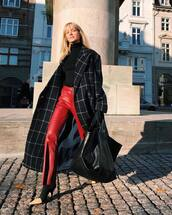 pants,red pants,leather pants,boots,handbag,leather bag,coat,wool coat,long coat,checkered,turtleneck sweater