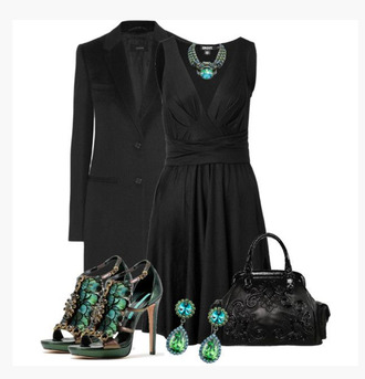 dress v neck sleeveless black dress black coat shoes heels high heels stilettos peacock peacock heels earrings bag purse peep toe clothes jacket