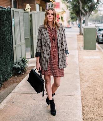 jacket blazer grey blazer plaid plaid blazer red dress black boots tartan dress mini dress boots bag