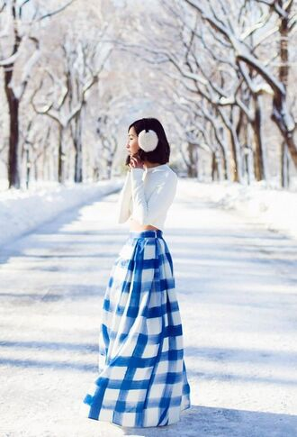 skirt earmuffs white white top top white crop tops crop tops maxi skirt blue skirt tartan checkered checkered skirt