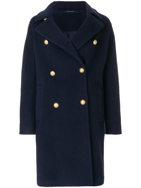 TAGLIATORE coat women embellished blue wool