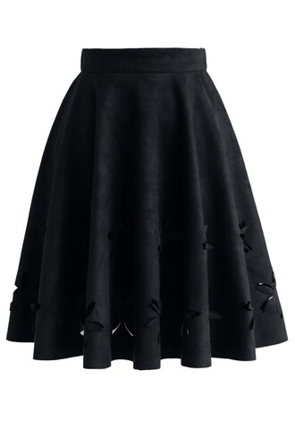 skirt dancing flower cutout suede a-line skirt in black chicwish a-line black skirt