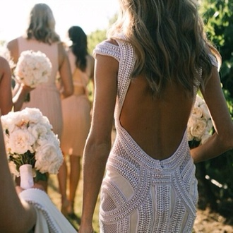 dress wedding dress backless dress pretty white beaded dress backless dress open back dress white long prom dress prom dress maxi dress cute dress white dress maxi dres alternative prom dress bridesmaid
