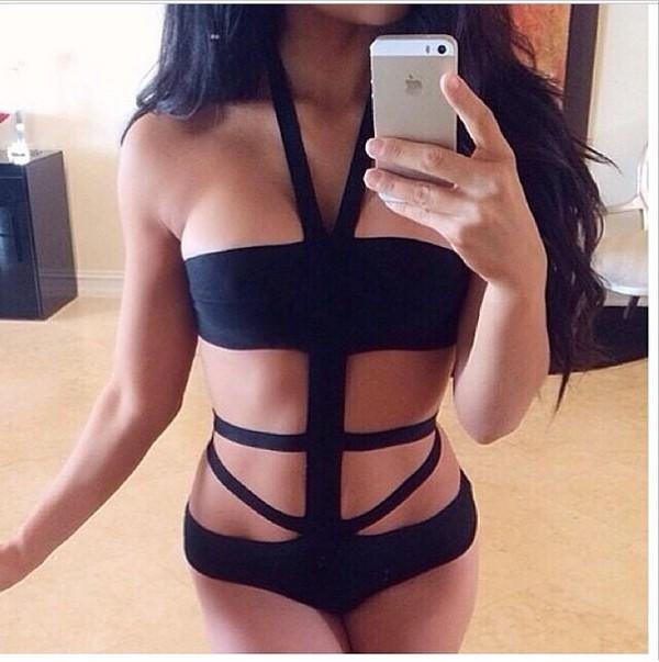swimwear one piece swimsuit one piece swimwear black black one piece black swimwear cut-out cut-out swimsuit