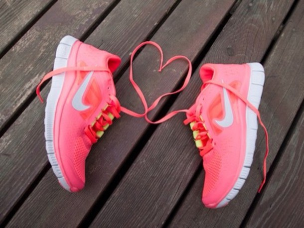 shoes nike nike air force air max nikefree nike free run nike runs pink heart swag hipster just do it salmon yellow running workout nike running shoes