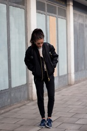 india rose,sweater,shoes,jacket,bomber jacket,hair accessory,alpha,black bomber jacket,casual,city outfits
