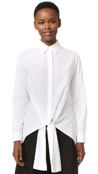 top tie front white