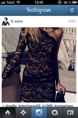 dress little black dress lace lace dress black lace blonde hair bodycon beautiful lbd tube mini dress see through