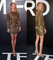 dress,metallic,sequins,rosie huntington-whiteley,sandals,shoes