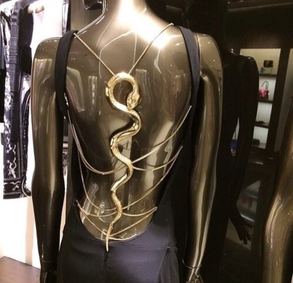 snake gold dress backless dress black gold chain beautiful dress