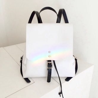 bag white black backpack rainbow floral vintage 90s style hipster black and white indie alternative