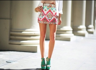 skirt indie colorful patterns nice haute & rebellious jacket cute skirt shoes colorful style