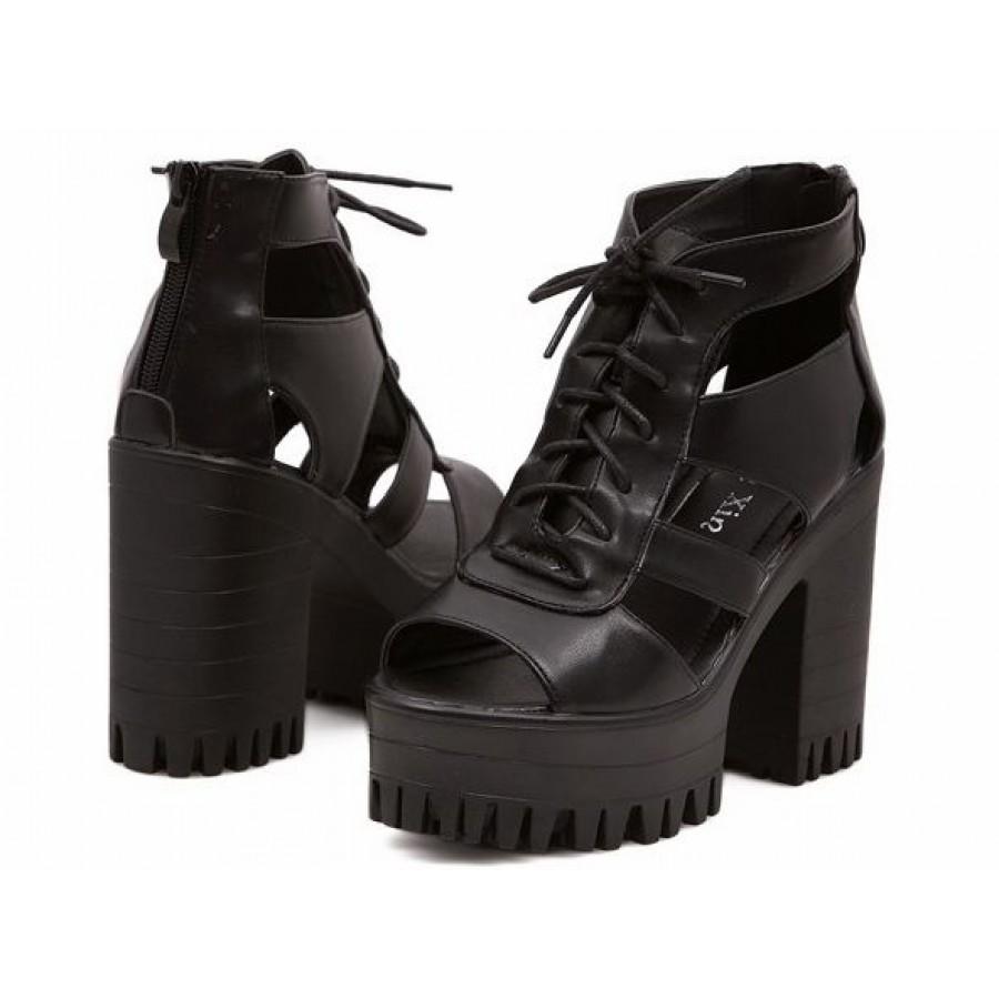 Black Platform Lace-Up Cut-Out Sandal Boots