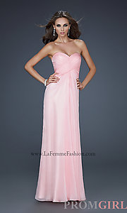 Long Strapless Open Back Prom Dress, La Femme Sexy Gown- PromGirl