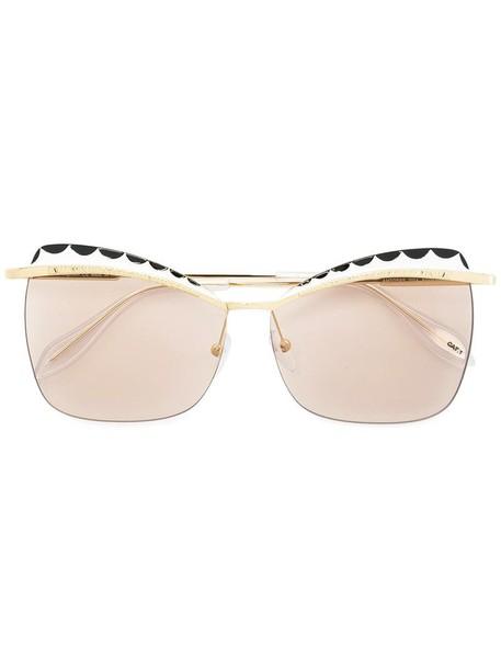 Alexander Mcqueen Eyewear - squared cat eye sunglasses - women - Acetate/Metal (Other) - 60, Grey, Acetate/Metal (Other) in metallic