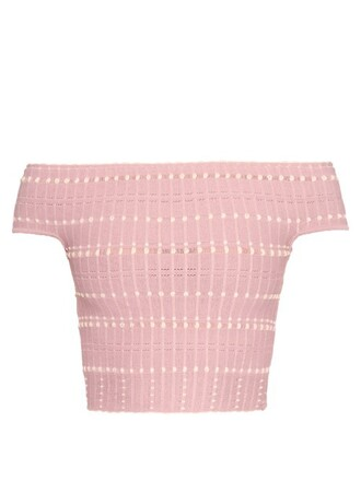 top knitted crop top pink