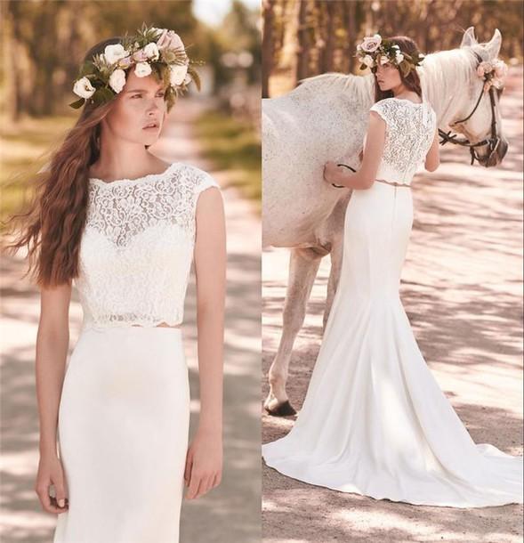 Dress mikaella bridal 2053 two pieces wedding dresses for Bohemian mermaid wedding dress