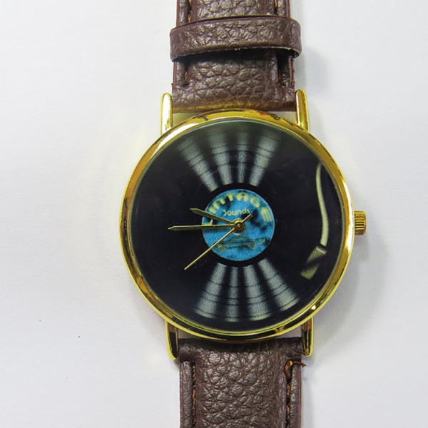 jewels vinyl player watch watch handmade etsy style vintage collector music