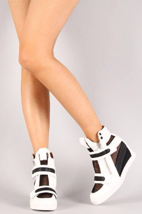 sneakers shoes fashion black and white wedge sneakers cool girl style