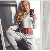 pants,sweatpants,grey sweatpants,hoodie,cropped hoodie,grey sweater,sweater,crop tops,cropped sweater,two piece dress set,two-piece,outfit,outfit idea,summer outfits,fall outfits,winter outfits,cute outfits,spring outfits,date outfit,party outfits,cute top,bottoms,clothes,fashion,style,stylish,clubwear,long sleeves,long sleeve crop top,top,summer top,grey top,cute sweaters,sweater weather,winter sweater,fall sweater,high waisted pants