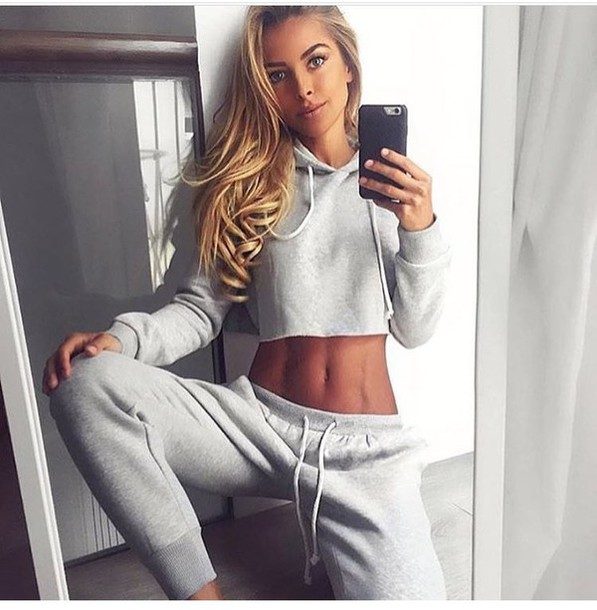 Pants Sweatpants Grey Sweatpants Hoodie Cropped Hoodie