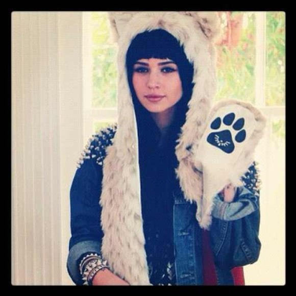 bear hat hat shirt jacket bracelets denim jacket studded studs