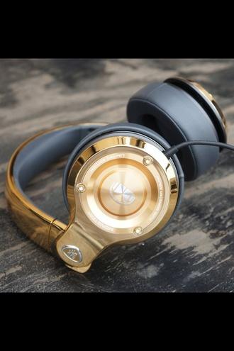 earphones headphones gold stylish style