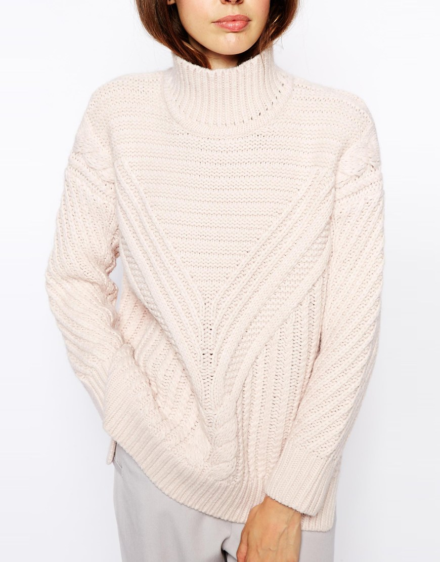 ASOS Cable Jumper With High Neck at asos.com