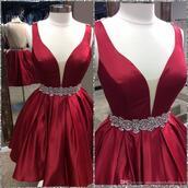 dress,sweet sixteen dress dresses,dark red,crystal detailing,mini,plunge v neck,sheer back,sleeveless