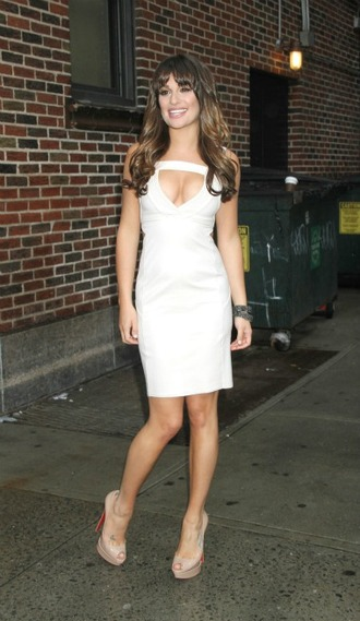 white dress lea michele date night dress party dress sexy dress