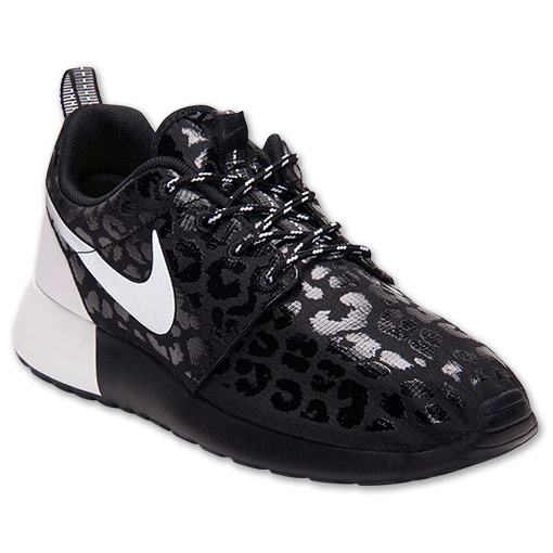 Women's Nike Roshe Run Premium Casual Shoes | FinishLine.com | Black/White/Black